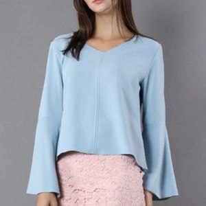 NEW Swingy Pastel Blue Top with Flare Sleeves NWT
